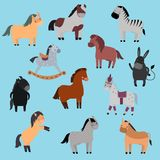 Ensemble différent de vecteur de race de chevaux Images libres de droits