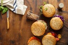 Ensemble différent des hamburgers végétariens avec la frontière Ba sain de nourriture image stock