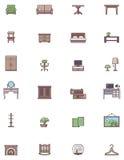 Ensemble domestique d'icône de meubles Photo stock