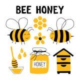 Ensemble drôle de griffonnage de miel d'abeille L'apiculture, apiculture : abeille, ruche, cuillère, nid d'abeilles, pot Illustra illustration de vecteur