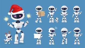 Ensemble drôle de robot d'illustration de vecteur d'icônes illustration de vecteur