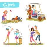 Ensemble drôle de vecteur de personnages de dessin animé de golfeurs Images stock