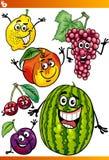 Ensemble drôle d'illustration de bande dessinée de fruits Photo stock