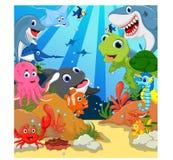 Ensemble drôle de bande dessinée d'animaux de mer Images stock