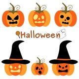 Ensemble drôle mignon de bande dessinée d'illustration de vacances de potirons de Halloween Photos libres de droits