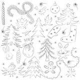 Ensemble drôle tiré par la main de croquis de Noël de griffonnage Dessins d'enfants des sapins, du cadeau, de la bougie, des joue illustration de vecteur