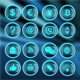 Ensemble du bouton 3d et icônes plates pour des affaires, SEO et med social illustration de vecteur