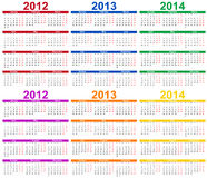 Ensemble du calendrier 2012 - 2014 Images libres de droits