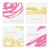 Ensemble du croquis 4 tiré par la main abstrait coloré, fond pour des invitations et cartes de voeux Photos stock