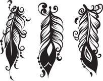Ensemble du dessin trois des plumes Photos stock