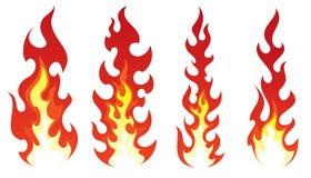 Ensemble du feu stylisé sur le fond blanc Images libres de droits