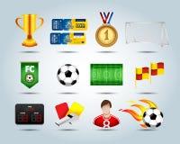 Ensemble du football d'icônes 3d avec le champ, ballon de football, ballon de football en feu, trophée, drapeau faisant le coin,  Illustration Libre de Droits