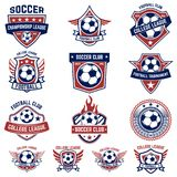 Ensemble du football, emblèmes du football Concevez l'élément pour le logo, label, emblème, signe Photo stock