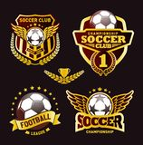 Ensemble du football Logo Design Templates, insigne du football illustration stock