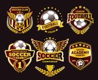 Ensemble du football Logo Design Templates, insigne d'or de vintage du football illustration de vecteur