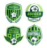 Ensemble du football Logo Design Templates, insigne de vert de vintage du football illustration de vecteur