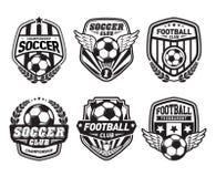 Ensemble du football Logo Design Templates, insigne de vintage du football illustration stock