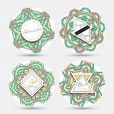 Ensemble du label 4 avec le mandala Mandalas d'autocollant de collection Photo stock