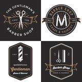 Ensemble du logo du salon de coiffure des hommes, insignes, label, conception d'étiquette dans le style de vintage Bannière de ra Photographie stock