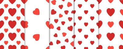 Ensemble du modèle 5 sans couture avec des coeurs Fond de vecteur de jour de valentines Photo stock