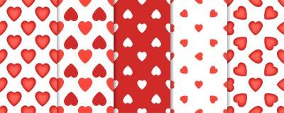 Ensemble du modèle 5 sans couture avec des coeurs sur le fond blanc Illustration de vecteur de jour de valentines de St illustration de vecteur