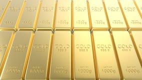 ensemble du rendu 3d de barres d'or d'isolement sur le fond blanc Images libres de droits