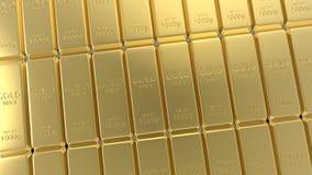 ensemble du rendu 3d de barres d'or d'isolement sur le fond blanc Photos libres de droits