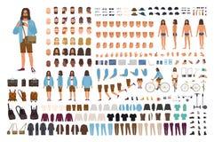 Ensemble du type DIY de hippie ou kit d'animation Homme habillé dans des vêtements à la mode Collection du corps plat masculin de illustration libre de droits