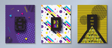 Ensemble dynamique de couverture de brochure d'Art Print Web de bruit Image stock