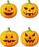 Ensemble effrayant de bande dessinée de potiron de Halloween illustration libre de droits