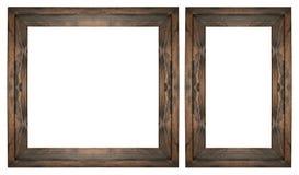 Ensemble en bois de cadre de tableau sur le blanc d'isolement Photographie stock