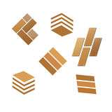 Ensemble en bois de logo de plancher de tuile illustration stock
