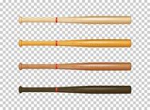 ensemble en bois réaliste d'icône de batte de baseball Plan rapproché d'isolement sur le fond transparent Descripteur de concepti Photographie stock