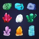 Ensemble en cristal de vecteur Pierre ou gemme cristalline Pierre gemme précieuse Diamant non traité, malachite, turquoise, quart illustration libre de droits