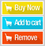 Ensemble en ligne d'icône de commerce électronique d'achats Images libres de droits