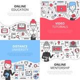 Ensemble en ligne de concept de construction d'éducation Images libres de droits