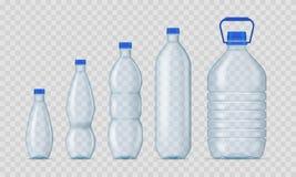 Ensemble en plastique de maquette de calibre de bouteilles du blanc 3d détaillé réaliste Vecteur illustration libre de droits