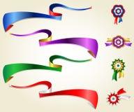 Ensemble en soie de ruban, bleu, rouge, vert, pourpre Illustration Stock