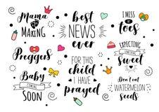 Ensemble enceinte de lettrage de citation de mère de maman de grossesse illustration de vecteur