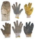 Ensemble enfilé de gants utilisé d'isolement images stock