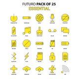 Ensemble essentiel d'icône Plus défunt paquet jaune d'icône de conception de Futuro illustration stock