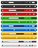 Ensemble essentiel de barre de lecteur de musique de site Web Image stock