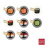 Ensemble et baguettes de sushi d'icônes Photographie stock libre de droits