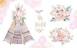 Ensemble ethnique coloré d'aquarelle de bouquets de tipi et de fleurs dans le style de natif américain Tipi d'isolement par Navaj illustration de vecteur