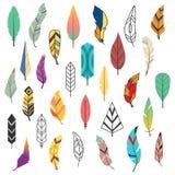 Ensemble ethnique coloré de plume de style de vintage différent plat tribal d'oiseau et dessin décoratif d'isolement d'élément ti Image stock
