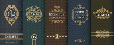 Ensemble exquis de calibres de conception pour le label et paquet de whiskey Image libre de droits