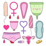 Ensemble féminin d'hygiène Illustration mignonne Images stock