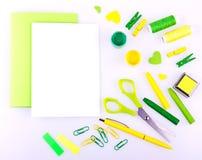 Ensemble fabriqué à la main dans des tons verts et jaunes Photos libres de droits