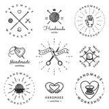Ensemble fait main de vecteur de vintage de logo d'atelier Hippie et rétro style illustration stock