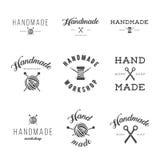 Ensemble fait main de vintage de logo d'atelier Image libre de droits